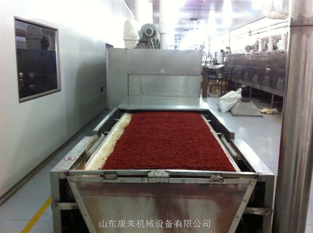 辣椒碎烘干杀菌设备能用微波加工生产
